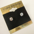 5MM Clear Stone Cubic Zirconia  Gold Prong Earrings .52 ea