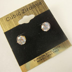 6MM Clear Stone Cubic Zirconia  Gold Prong Earrings .52 ea