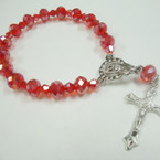 Rosary Style Red Color Crystal Bead Bracelet w/ Silver Cross w/ Jesus .54 ea