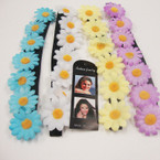 Popular 7 Flower Headband w/ Blk Elastic Back .52 ea