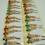 "3"" Gold Bobbie Pin w/ Colored Stones & Clear Crystals 24 per pack"
