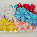 "5"" Sequin & Pearl Center Fashion Flower Bow 3 in 1 Use .54 ea"