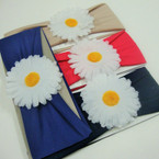 "3"" Soft Comfortable Fit Headwrap w/ White Daisy Flower  .50 ea"