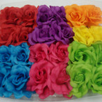 "3"" Asst Bright Color Silk Flower Bow on Gator Clip 24 per bx .27 ea"