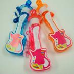"6"" Guitar  Theme Whistle Bubble Necklace 24 per display bx .40 ea"