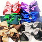"6"" Gator Clip Fashion Bow Mixed Two Tone Colors .45 ea"