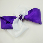 "6"" Gator Clip Fashion Bow Two Tone White/Purple .54 ea"