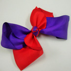 "6"" Gator Clip Fashion Bow Two Tone Red/Purple .54 ea"