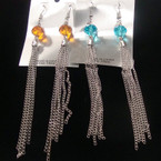 "4"" SIlver Chain Fashion Earring w/ Crystal Bead Top .33 ea"