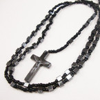 "36"" Hematite Square Beaded Rosary w/ Cross w/ Jesus .54 ea"