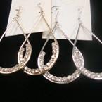 """2.5"""" Gold & Silver Oval Hoop  Earring w/ Clear Rhinestones  .54 ea"""