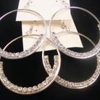 "2"" Gold & Silver Round Hoop  Earring w/ Clear Rhinestones  .54 ea"