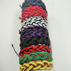 Two Tone Color Multi Line Braid Teen Leather Bracelet .54 ea
