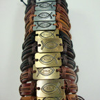 Mixed Color Teen Leather Bracelet w/ Jesus Fish Plaque Gold/Sil .54 ea