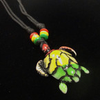 DBL Leather Cord Necklace w/ Rasta Color Turtle Pendant .52 ea