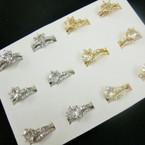 Cubic Zirconia Wedding Band Set Gold & Silver .54 ea set