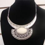 """16"""" Silver Chain Necklace w/ 4"""" Silver Bar & Oval Stone .60 ea"""