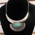 "16"" Silver Chain Necklace w/ 4"" Silver Bar & Oval Turquoise Stone  .60 ea"