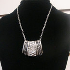 "18"" Silver Chain Necklace w/ Crystal Stone Silver Pendant .60 ea"