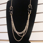 "2"" Gold Chain Hi Fashion Neck Set w/ Blk/White Links .60 ea set"