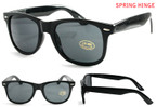 Spring Hinge Wayfarer Look Sunglasses All Black Shiney Frame $ 1.00 ea