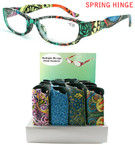 Ladies Multi Print Spring Hinge Reading Glasses w/ Case 24 pc Display $ 1.25 ea