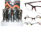 Unisex Plastic Half Rimless Reading Glasses w/ Case 24 per Display  $1.25 ea