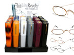 Thin Line Reading Glass in Plastic Case 36 per Display $ 1.00 ea