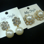 2 Asst Style Elegant Pearl & Crystal Stone Earrings .52 ea