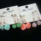 Value Pack 4 Pair Earrings w/ Colored Fire Ball .52 per set