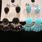 Bubble Stone Fan Style Earring w/ Crystals .52 ea