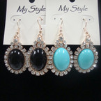 Oval Dome Style Fashion Earring w/ Clear Crystals .52 ea