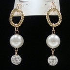 "2.5"" Pearl & Crystal Ball Drop Fashion Earring .52 ea"
