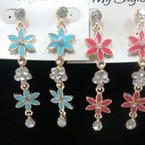 "2"" Enamel Flower Earring w/ Crystal 6 colors .52 ea"