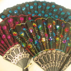 "9"" Black Hand Fan w/ Asst Color w/ Sequins  12 per pk .54 ea"