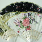 "9"" White Hand Fan w/ Shiney Fabric Flower Prints Asst Colors 12 per pk .54 ea"