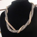 "16"" Mesh Fashion Necklace w/ Gold/Sil Chain & Beads Inside .57 ea"