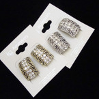 "1"" Fancy Gold & Silver Designer Look CLIP ON Earring w/ Crystals .54 ea"