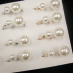 Fabulous Two Finger DBL Pearl Fashion Ring Gold/Silver Bands .56 ea