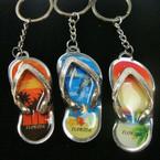 Metal Silver Florida Scene Flip Flop Keychains .54 ea