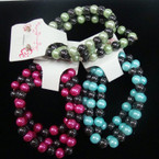 3 Pack Glass Pearl & Hematite Bead Bracelet & Earring Set .54 per set
