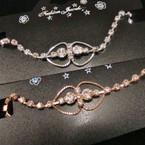 Gold & Silver Rhinestone Tennis Bracelet w/ DBL Heart .54 ea