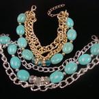 Triple Strand Turq.& Cry. Stone Bead Gold/Silver Chain Bracelet .54 ea