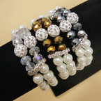 DBL Strand White Glass Pearl Bracelet w/ Crystals & Fire Ball Bead .56 ea