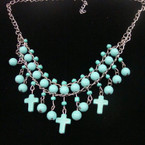 Silver Chain Necklace w/ Dangle Beads & Crosses .56 ea