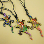 """Leather Cord Necklace w/Hand Painted  2.5"""" Wood Lizard Pendant  .56 ea"""