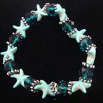 Popular Turq. Starfish Stretch Bracelet w/ Crystal Beads .54 ea