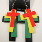 "3"" 4 Layer Rasta Color Cross Earring .54 ea"