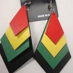 """3"""" 4 Layer Rasta Color Earring Arrow Shape  .54 ea"""