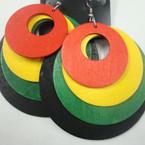 "3"" 4 Layer Rasta Color Earring Round Shape  .54 ea"